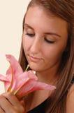 Closeup face of girl. stock photos