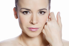 Closeup face. Skin care portrait for skin treatments Royalty Free Stock Images