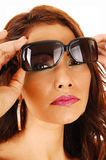 Closeup face with sunglasses. Royalty Free Stock Images