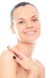Closeup face woman with clean skin Stock Photo