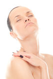 Closeup face woman with clean skin and closed eyes Royalty Free Stock Images