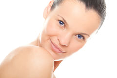 Closeup face woman with fresh clean skin Royalty Free Stock Photo
