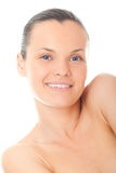 Closeup face young woman with fresh skin Stock Image