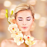 Closeup face of an young woman with health skin Royalty Free Stock Photography