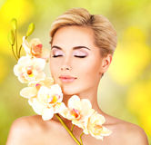 Closeup face of an young woman with health skin Royalty Free Stock Image