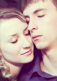 Closeup faces of loving couple Royalty Free Stock Images