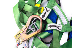 Closeup fall protection harness and lanyard for work at heights Stock Images