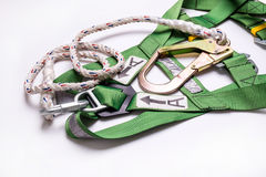 Closeup fall protection Hook harness and lanyard for work at heights Stock Photography