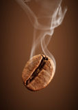 Closeup falling coffee bean with smoke on brown background Stock Images