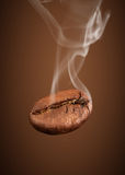 Closeup falling coffee bean with smoke on brown background Royalty Free Stock Image