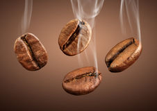 Closeup falling coffee beans with smoke on brown background. Falling coffee beans with smoke on brown background Stock Photos