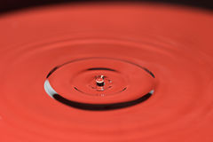 Closeup of falling water drop in red Royalty Free Stock Photos