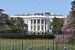 Closeup of the White House in Washington D.C. in the USA stock images