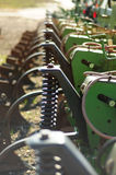 Closeup of farm equipment. A closeup view of mechanical farm equipment stock photos