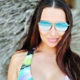 Closeup fashion beautiful woman portrait wearing sunglasses Stock Image
