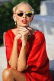 Closeup Fashion Beautiful Woman Portrait Wearing Sunglasses Stock Images
