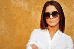 Closeup fashion beautiful woman portrait wearing sunglasses Stock Photos