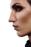 Closeup fashion portrait of androgynous man Royalty Free Stock Photo
