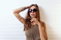 Closeup, fashion portrait, attractive young woman with sunglasses stock photos