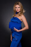 Closeup of fashion woman in blue suit and bag Royalty Free Stock Images