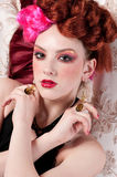 Closeup fashion woman posing with silk fabric Stock Photography