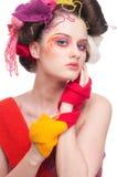 Closeup fashion woman with wool Stock Photo