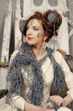 Closeup fashion woman with wool Royalty Free Stock Image