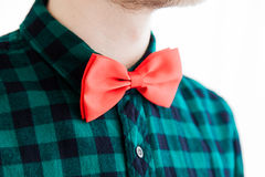 Closeup fashioned red bow Royalty Free Stock Photos