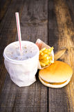 Closeup of fast food,hamburger, drink and french fries Royalty Free Stock Photography
