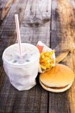 Closeup of fast food,hamburger, drink and french fries Stock Photography