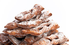 Closeup of faworki, Polish dessert. Closeup of faworki, traditional Polish carnival dessert on white isolating background Stock Photos