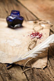 Closeup of a feather lying on old sheet of paper Royalty Free Stock Photo