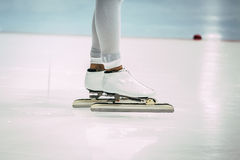 Closeup feet girl speed skaters Stock Image