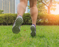 Closeup feet are jumping on the green grass. Closeup feet are jumping on the green grass,Making light soft and blur Royalty Free Stock Photography