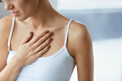 Closeup Female Body, Woman Having Pain In Chest, Health Issues Royalty Free Stock Photos