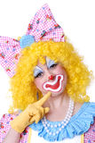 Closeup of Female Clown. With bow in her hair Stock Image
