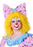 Closeup of Female Clown. With bow in her hair Stock Photo