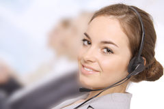 Closeup of a female customer service representativ Royalty Free Stock Photos