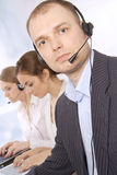 Closeup of female customer service representative Stock Images