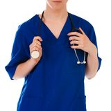 Closeup of female doctor's hand holding stethoscope Stock Image