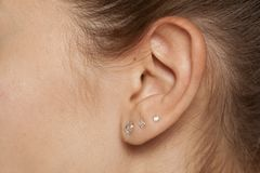 Female ear with earrings. Closeup of a female ear with three earrings royalty free stock image