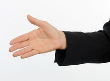 Closeup  of female executive offering hand for handshake Stock Image