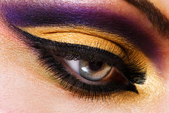 Beautiful face of a woman with fashion makeup Stock Photos