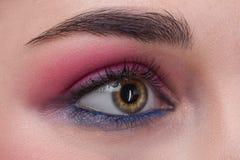 Closeup female eye with beautiful fashion bright makeup royalty free stock photos