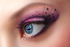 Closeup female eye with beautiful makeup Royalty Free Stock Photos