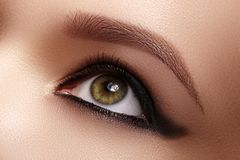 Closeup Female Eye with Dark Make-up, great Shapes Brows. Celebrate Makeup, Luxury Eyeshadows. Fashion Eyeliner, pencil