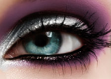 Closeup female eye with fashion bright make-up. Beautiful shiny silver, purple eyeshadow, wet glitter, black eyeliner Stock Images