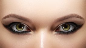 Free Closeup Female Eyes With Bright Make-up, Great Shapes Brows, Extreme Long Eyelashes. Celebrate Makeup, Luxury Eyeshadows Royalty Free Stock Photography - 123597647