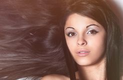 Closeup of a female face. isolated on black. royalty free stock photo