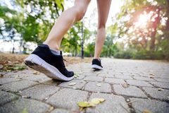 Closeup of female feet while jogging. In nature outdoors in park Royalty Free Stock Images